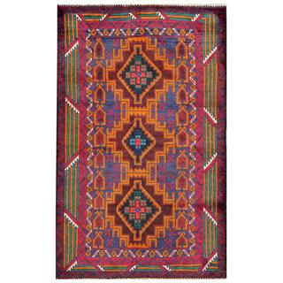 Herat Oriental Semi-antique Afghan Hand-knotted Tribal Balouchi Blue/ Gold Wool Rug (2'9 x 4'6)
