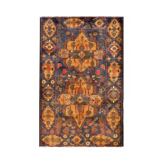 Herat Oriental Semi-antique Afghan Hand-knotted Tribal Balouchi Navy/ Gold Wool Rug (2'7 x 4'4)
