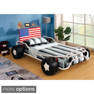 Furniture of America Patriot White Metal Race Car Youth Bed