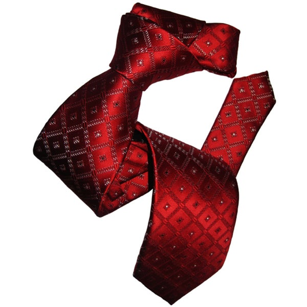 Dmitry Men's Elegant Red Patterned Italian Silk Tie