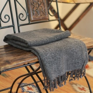 Handcrafted 100% Acrylic Charcoal Gray Self Fringe Soft Practical for Home or Car Decorator Accent Woven Throw (India)