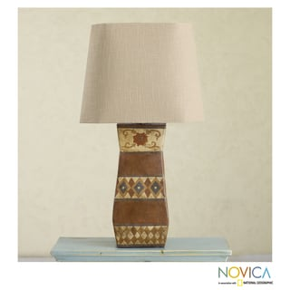 Handcrafted Ceramic 'Colonial Flower' Table Lamp (Mexico)