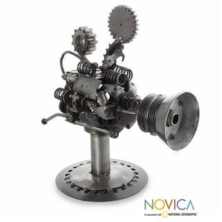 Handcrafted Auto Parts 'Rustic Video Camera' Sculpture (Mexico)