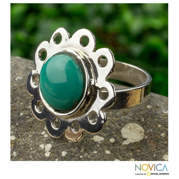 Sterling Silver 'Aztec Bloom' Turquoise Ring (Mexico)