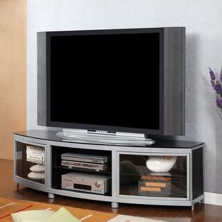 Furniture of America Symphella Silver and Black Glass TV Console