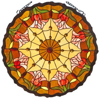 Tiffany Style Tulips 24-inch Stained Glass Window Panel