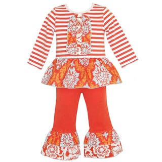 AnnLoren Girls Autumn Tuxedo Stripes and Damask Outfit