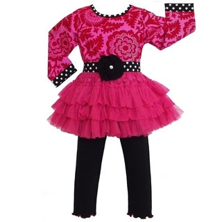 AnnLoren Hot Pink Floral Blossom Tulle Dress with Leggings Outfit