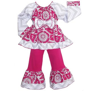 AnnLoren Girl's Pink and Grey Floral Blossom and Chevron Outfit