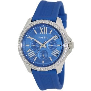 Fossil Women's AM4490 Cecile Multifunction Blue Silicone Watch
