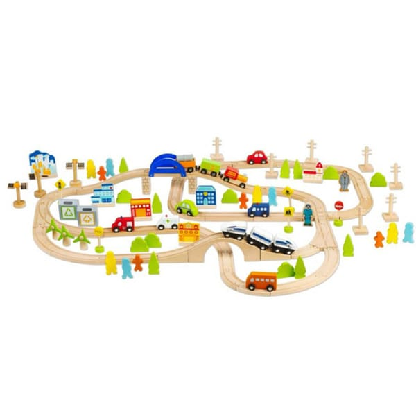 Classic World Wooden 110-piece Train Set
