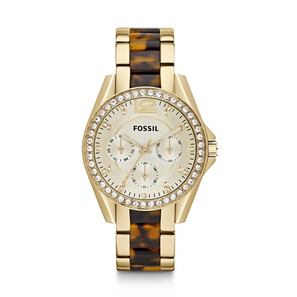 Fossil Women's ES3343 Riley Tortoise Multifunction Stainless Steel Watch