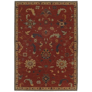 Woven Karastan English Manor Preston Red Wool Rug (8'6 x 11'6)