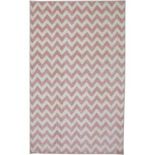American Rug Craftsmen Crib 2 College Fun Lines Pink Rug (3'4 x 5')
