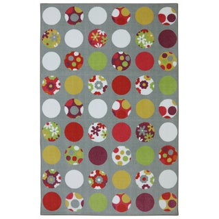 American Rug Craftsmen Crib 2 College Kids Circles Gray Rug (5' x 8')