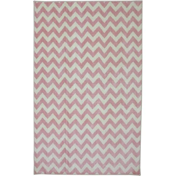 American Rug Craftsmen Crib 2 College Fun Lines Pink Rug (5' x 8')