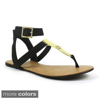 Fahrenheit Women's 'Morena-05' Metallic T-strap Flat Sandal