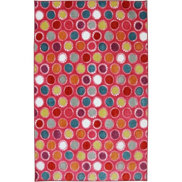 American Rug Craftsmen Crib 2 College Kids Dots Hot Pink Rug (5' x 8')