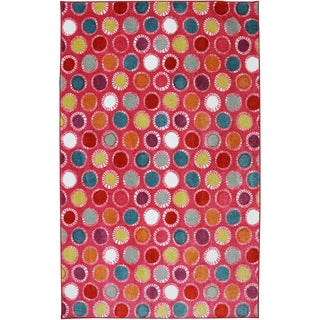 American Rug Craftsmen Crib 2 College Kids Dots Hot Pink Rug (5' x 8')