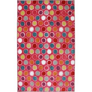 American Rug Craftsmen Crib 2 College Kids Dots Hot Pink Rug (8' x 10')