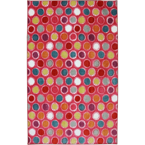 American Rug Craftsmen Crib 2 College Kids Dots Hot Pink Rug (8' x 10')