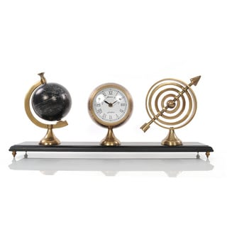 Armillery/ Clock and Globe On Wood Base