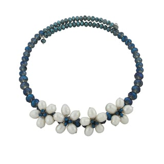 Gardenia Jewelry Navy/ White Crystal Freshwater Pearl Necklace