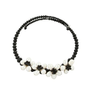 Gardenia Jewelry Black and white Crystal Freshwater Pearl Necklace