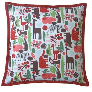Cheerful Hippo Red Kids Animal Print 20x20-inch Pillow