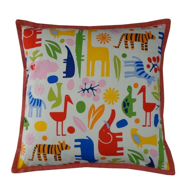 Playful Pink Kids Animal Print 20x20-inch Pillow