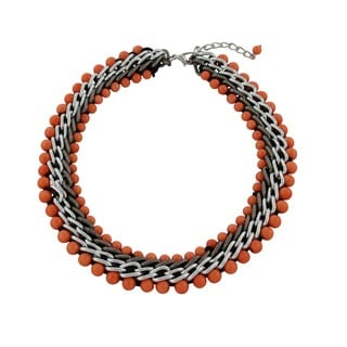 Gardenia Jewelry Coral Agate Beaded Multi-row Necklace