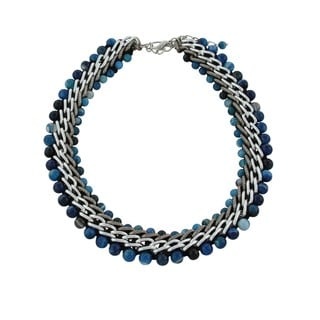 Gardenia Jewelry Blue Agate Beaded Necklace