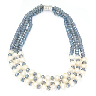 Gardenia Jewelry Light Blue Crystal Freshwater Pearl Necklace