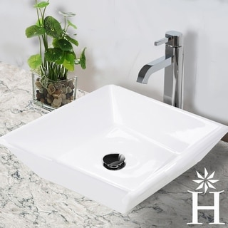 Highpoint Collection 16 inch Square White Vessel Sink with Umbrella Drain Set