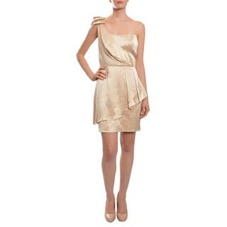ABS Women's Supple Satin Lustrous Finish One Shoulder Modern Peplum Dress