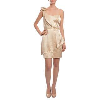 ABS Women's Supple Satin Lustrous Finish One Shoulder Modern Peplum Dress