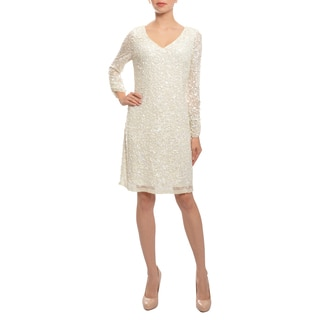 Aidan Mattox Women's Angelic Off-white Long Sleeve Fitted Sequins Party Dress (Size 8)