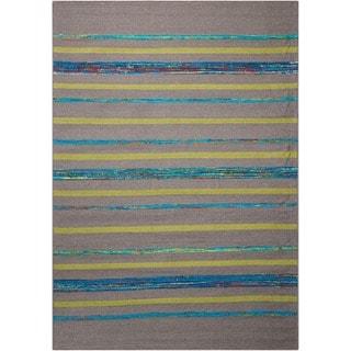Nourison Spectrum Grey Turquoise Stripe Rug (8' x 10'6)