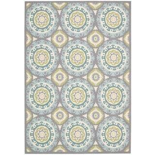 Nourison Waverly Sun and Shade Jade Blue Rug (2' x 3')