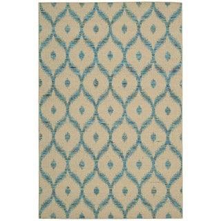 Nourison Spectrum Beige Turquoise Rug (5'3 x 7'5)