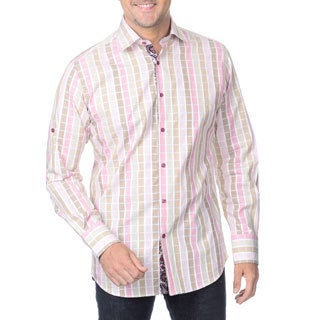 Franco Negretti Men's Pink Check Woven Shirt