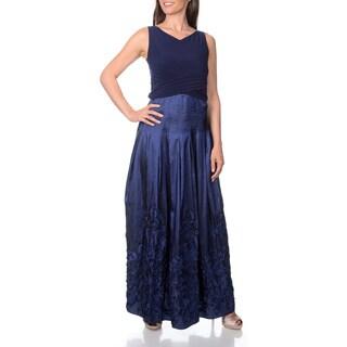 Patra Women's Empire Waist Soutache Bottom Sleeveless Evening Gown