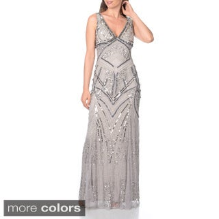 Patra Women's V-neck Beaded / Sequined Sleeveless Evening Gown