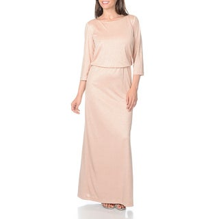 Patra Women's Blouson 3/4-length Sleeve Allover Sparkle Evening Gown