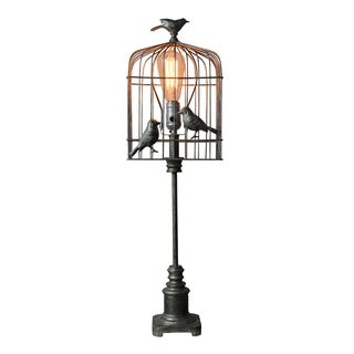 Single-light Nickel Metal Bird Cage Lamp