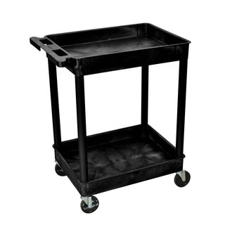 Luxor Black 2-shelf Rolling Utility Cart