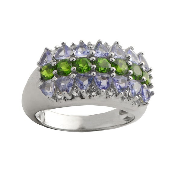 Gems For You Sterling Silver Tanzanite, Chrome Diopside and White Topaz Ring 13250577