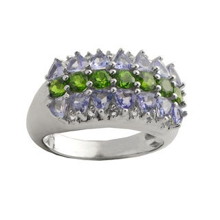 Gems For You Sterling Silver Tanzanite, Chrome Diopside and White Topaz Ring