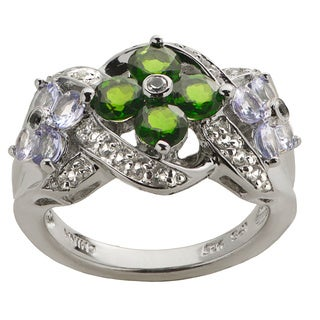 Gems For You Sterling Silver Multi-gemstone Flowers Ring