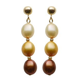 Pearls For You 14k Yellow Gold Multi-color Cultured Freshwater Pearl Dangle Earrings (7-7.5 mm)
